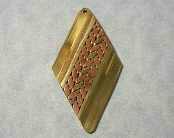Vintage Brass Pendant with Twisted Brass and Copper Center 27mm x 52mm