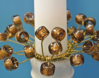 Pair of unique handmade bobeches of vintage handblown foiled dark brown glass beads and brass wire