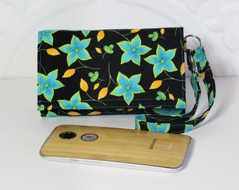 Cell Phone Wallet Wristlet, Crossbody Ready, Fits Most Smartphones, iPhone 6s Plus Card Holder Case, Moto X, Galaxy, LG / Teal Blue Floral