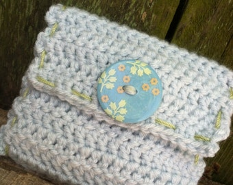 Crocheted Maxi Pad Pouch - Pale Blue