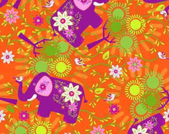 Laminated Cotton Mystic Forest - Orange Elephant Trees 338-25911 - BPA and PVC Free - 1/2 YARD