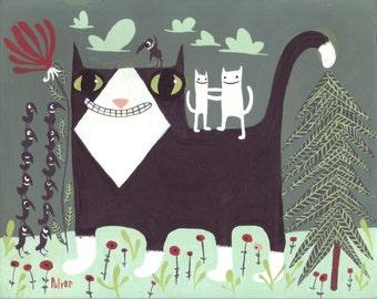 Whimsical Tuxedo Cat Art Artwork Print - Funny White Cats & Crows On Tuxedo Cat Wall Decor in Gray Sage Green Mint Folk Outsider Art