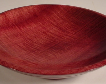 Curly Purpleheart  Wood Bowl Turned Wooden Bowl number 5757