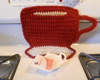 Tea Cup Pot holder / hot pad / trivet in burgundy and antique white