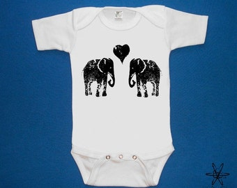 Elephants in Love baby one piece bodysuit shirt creeper screenprint Choose Size