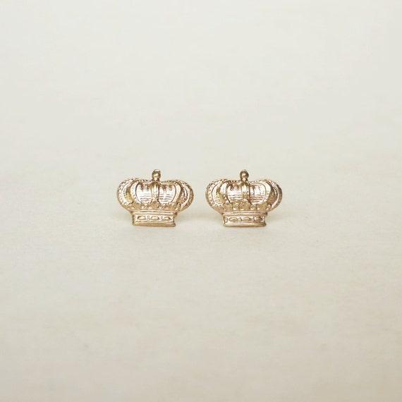 large brass gold crown stud earrings 925 sterling silver