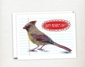 Mother's Day Card  - Female Cardinal  - Bird Card - Grandmother Card - Card for Mom - Illustrated Card