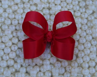 Red Satin Toddler Hair Bow 3 Inch Alligator Clip Baby Hairbow Christmas Special Occasion