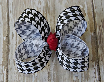 University of Alabama Inspired Toddler Hair Bow 3 Inch Baby Hairbow Crimson Tide Roll Tide Game Day Hair Bow Houndstooth