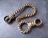 Huge Twisted Bronze hook and eye clasp - Large - heavy duty