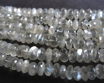 AAA Moonstone beads semiprecious gemstones translucent opalescent faceted rondelles - 6mm X 3mm - 7 inches  natural