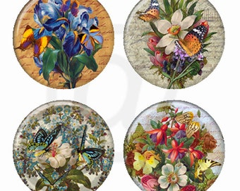 Vintage Flower Bouquets and Butterflies Magnets or Pinback Buttons or Flatback Medallions Set of 4