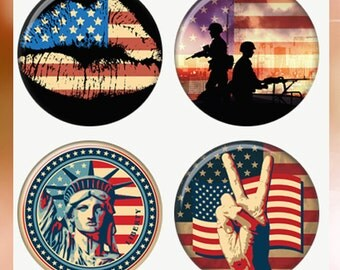 Patriotic Grunge Peace Soldiers US Flag, Statue Liberty Lips Magnets or Pinback Buttons or Flatback Medallions Set of 4