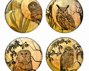 Moon and Owls in Golden Yellow Magnets or Pinback Buttons or Flatback Medallions Set of 4