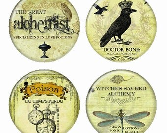 Dr Bones Witches Sacred Alchemy Poison du TempsPerdu Love Potions Magnets or Pinback Buttons or Flatback Medallions Set of 4