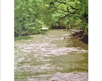 Modern graphic print of creek sports many shades of green.