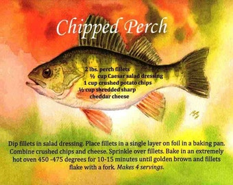 Best FREE Chipped Perch recipe!  So good you will want to put it on your wall! Works with any white fish fillets. 4 easy ingredients !