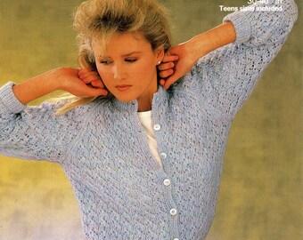 "Vintage Ladies Lacy Cardigan, 30""-40"" (76-102cm) Knitting Pattern, 1970 (PDF) Pattern, Patons 7992"