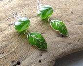 Spring Green Leaf Earrings, Handmade Leaf Drop Dangle Earrings
