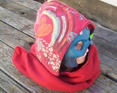 Upcycled Rainbows and Hearts Shirt Fleece Hooded Scarf Scoodie OOAK Ready to Ship