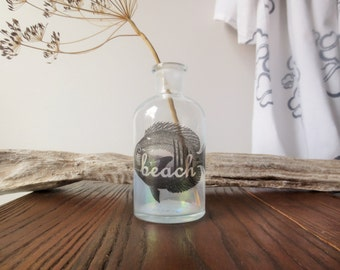 Beach House - Bud Vase - Fish Print - Beach Sign - Coastal Home - Beach Cottage - Modern Nautical Vase - Housewarming Gift - Ocean Themed