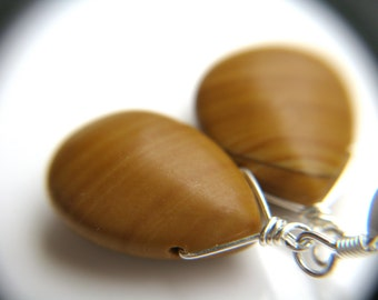 Nature Inspired Jewelry . Wood Jasper Earrings . Big Teardrop Earrings . Tree Hugger Gift . Faux Wood Earrings - Fir Collection