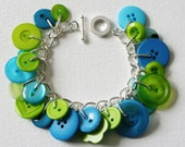 Button Bracelet Tropical Lime Green and Aqua Blue