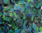 Mosaic Tile 1 of a kind Nice Sizes HP Blue green black stained glass Mosaic Tiles