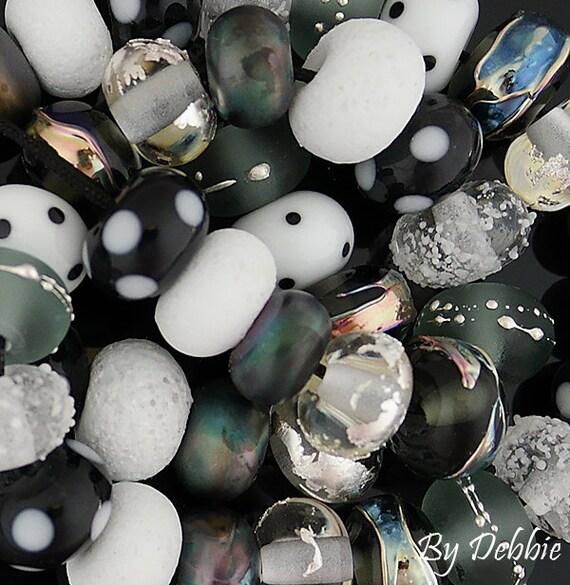 DSG Beads - Artisan Debbie Sanders Glass Handmade Organic Lampwork-Made To Order ~Masquerade~ Disc Set
