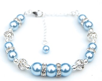 Light Blue Bridesmaid Jewelry, Pale Blue Bracelet, Baby Blue Pearl Rhinestones Bracelet, Bridal Party