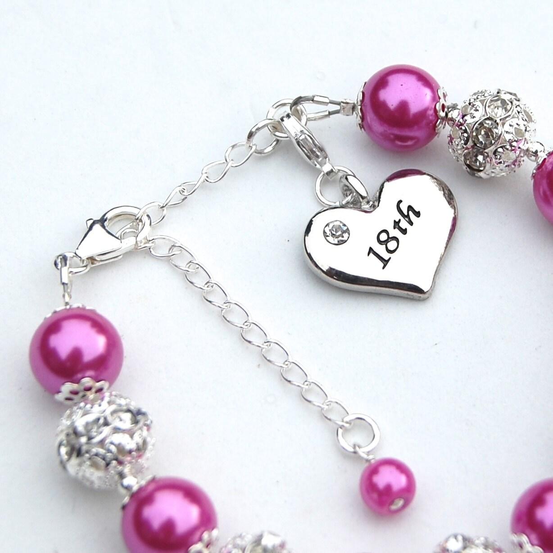 18th Birthday Charm Bracelet Pearl Rhinestone Jewelry 18th