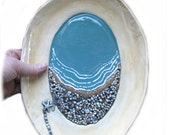 Cottage Beach Style Platter Hand Crafted ceramic serving ware