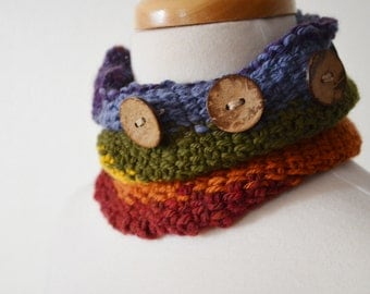 Hat and Scarf Thing - Convertible Hand Knit Accessory with Buttons. Festival Wear, Neckwarmer, Headband, Hat.  Merino Wool, Rainbow.