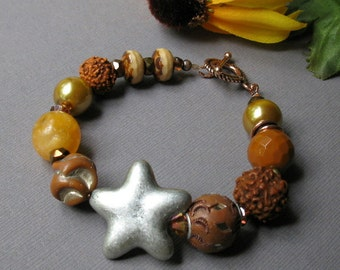Silver Star Boho Beaded Bracelet, Brown Beaded Bracelet, Textured Star Bracelet, for her Under 125