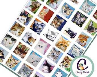 Painted Cats digital collage sheet 1 inch square