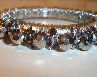 Silver Bangle Bracelet, Wire Wrap Silver Bracelet, Silver Bracelet with Crystal Beads, Crystal Bangle Bracelet, Upcycled Silver Bracelet