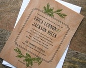 Among the Olive Trees Real Wooden Wedding Invitation