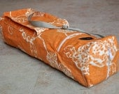 Yoga and pilates mat bag, beautiful orange and white floral yoga bag with zipper, pockets, and adjustable strap, yoga tote bag, mat carrier