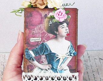 ooak handmade french girl art block