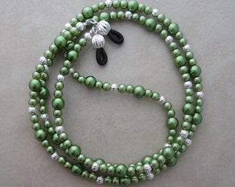 green pearl silver eyeglass chain holder
