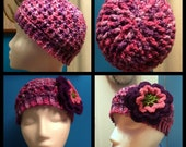 Reserved for Jackie A - Purple Flower Beanie