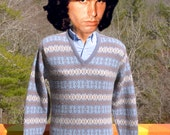 vintage 70s SKI sweater snowflake alpine nordic stripe wool acrylic knit v-neck Small Medium gray