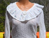 vintage 70's women's sweater RUFFLE embroidered collar white ivory sheer shirt top acrylic knit soft Small Medium 80s e.v. ltd