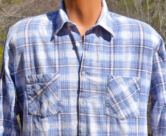 Vintage 70s Plaid Flannel Shirt Lumberjack Button Down Preppy