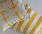 Yellow White Anchor Stripe Pillows, Decorative Throw Pillow Covers - 18 x 18 Inches - Premier Prints Yellow Anchor Stripe Set of TWO