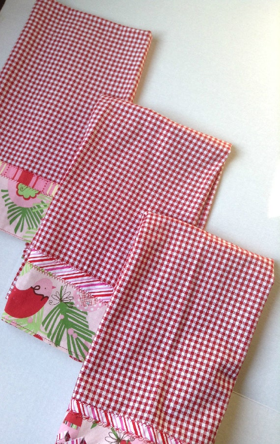 Set of Three Holiday Christmas Kitchen Towels Handmade
