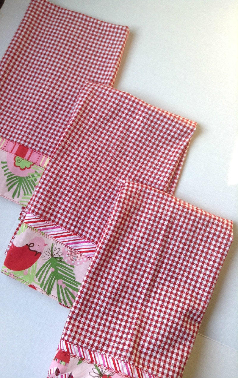 Set Of Three Holiday Christmas Kitchen Towels Handmade