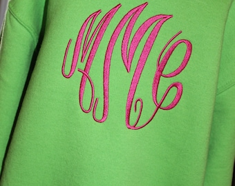 Monogrammed Sweatshirt Youth --- S M L XL  --- Personalized