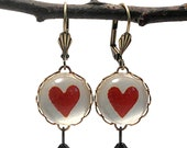 Vintage Red Heart 15mm Round Earrings Victorian Playing Cards Valentines or Anytime