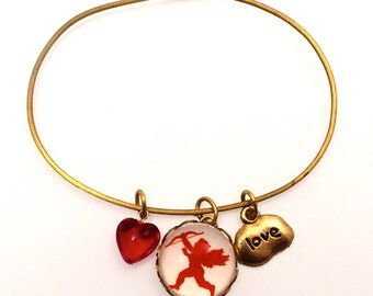 Red Cupid with Love Tag Charm with Red Heart Bead Valentine or Any Time